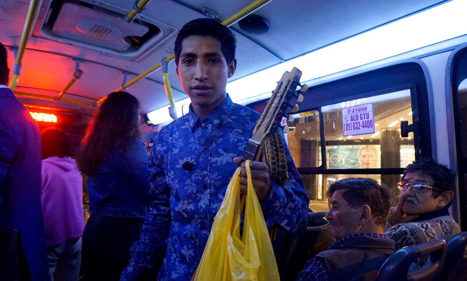 Lima Bus Musician public transport