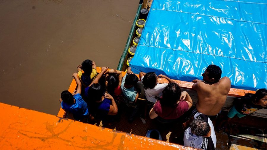 Cargo Boat Amazon People Birdview